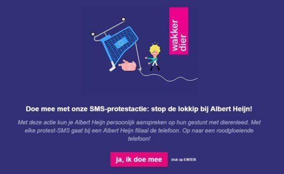AH ontvangt 26.000 sms'jes via Wakker Dier